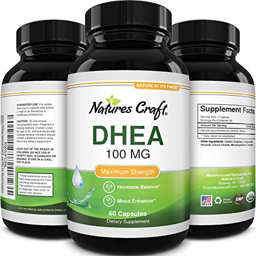 Pure DHEA Supplement for Women and Men - DHEA 100mg Thyroid Support for...