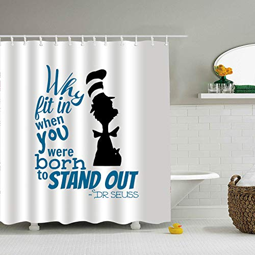 Mweet Fabric Dr-Seuss-Quotes-why-fit-in-When-You- Shower Curtain Liner 71...