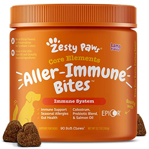 Zesty Paws Allergy Immune Supplement for Dogs Lamb- with Omega 3 Wild...