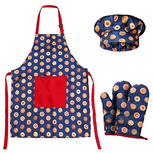RISEBRITE Kids Apron and Chef Hat Set with Two Oven Mitts for Girls and...