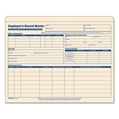 TOPS 3280 Employee Record Master File Jacket, 9 1/2 x 11 3/4, 10 Point...