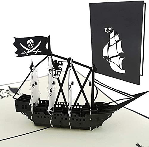 PopLife Black Pirate Ship Pop Up Card for All Occasions - Happy Birthday,...