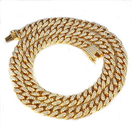 pobpop Mens Cuban Link Chain Gold Bling Miami Cuban Necklace Iced Out Fake...