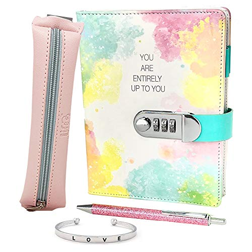Life is a Doodle Girls Diary with Lock - Gift Set Includes PU Leather...