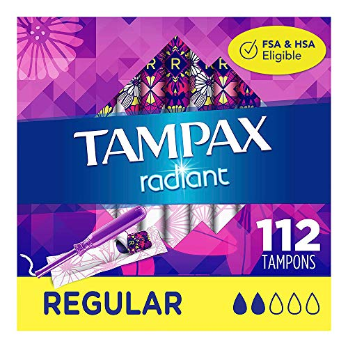 Tampax Radiant Plastic Tampons, Regular Absorbency, Unscented, 28 Count...