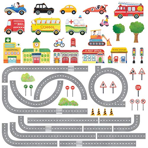 DECOWALL DAT-1404N The Road and Cars Kids Wall Stickers Wall Decals Peel...