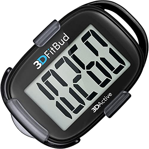 3DFitBud Simple Step Counter Walking 3D Pedometer with Clip and Lanyard,...