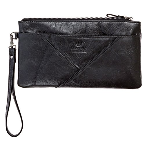 Divvy Up Womens Genuine Leather Clutch for Budget Envelopes, Cell Phone,...