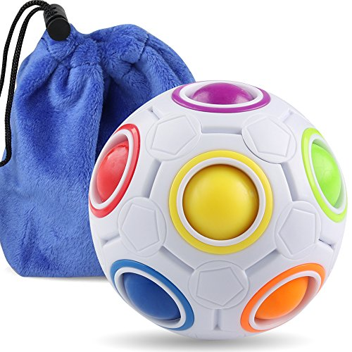 Coogam Rainbow Puzzle Ball with Pouch Color-Matching Puzzle Game Fidget Toy...
