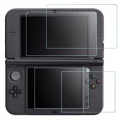Screen Protector Compatible New 3DS XL, AFUNTA 4 Pcs Tempered Glass for Top...