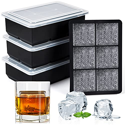 Syntus Ice Cube Trays Set of 4, Silicone Ice Maker for Whiskey Cocktail...