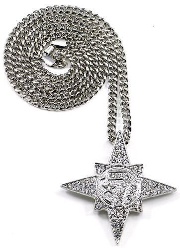 GWOOD 5 Percenter 7 Star Silver Color Pendant with 36 Inch Long Cuban...