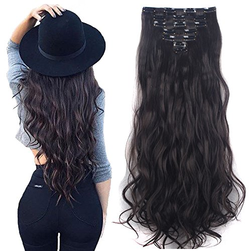 7Pcs 16 Clips 24 Inch Wavy Curly Full Head Clip in on Double Weft Hair...