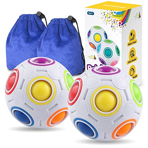 Coogam Rainbow Puzzle Ball Pack with Pouch Color-Matching Game Fidget Toy...