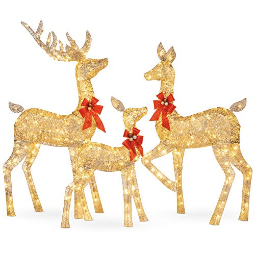 Best Choice Products 3-Piece Lighted Christmas Deer Family Set Outdoor Yard...