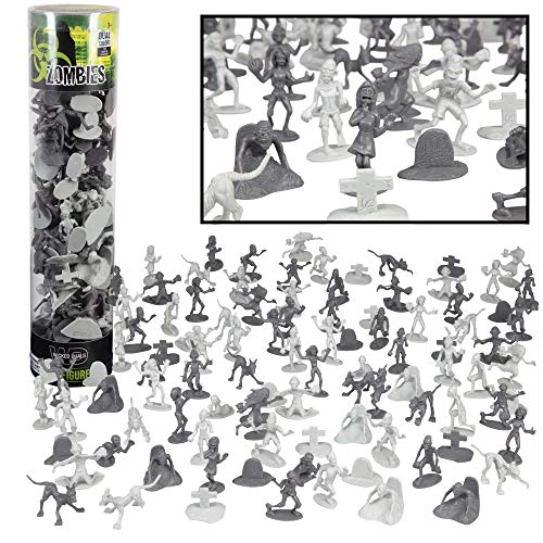 Zombie Army Action Figures - Big Bucket of 100 Zombies with 14 Unique...