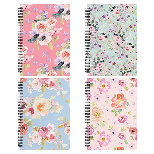 Spiral Notebooks 6 × 8 Inch, A5 Size Bulk Journals, 4 Pack College Ruled...