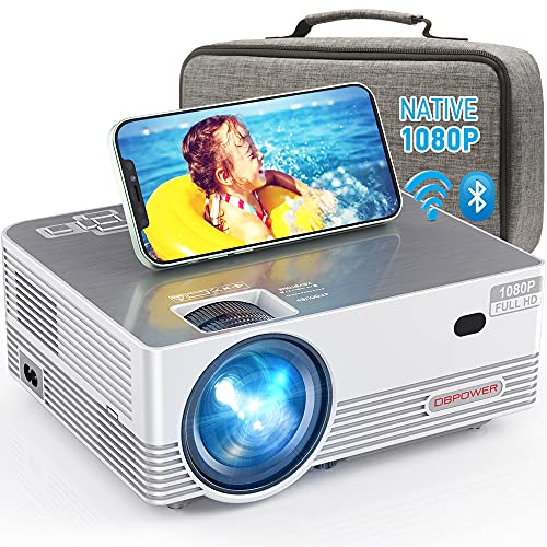 Native 1080P WiFi Bluetooth Projector, DBPOWER 8000L Full HD Outdoor Movie...
