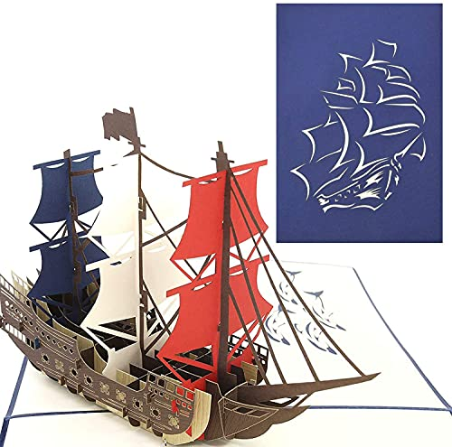 PopLife Man O' War Ship Pop Up Card for All Occasions - Happy Birthday,...