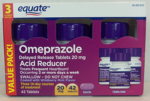 Equate Omeprazole Wildberry Mint 42 Count 20 Mg