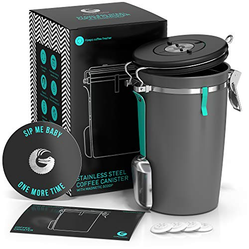 Coffee Gator Coffee Canister – 64floz Airtight Coffee Storage Container...