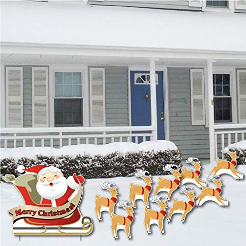 VictoryStore Yard Sign Outdoor Lawn Decorations: 'Merry Christmas' Santa...