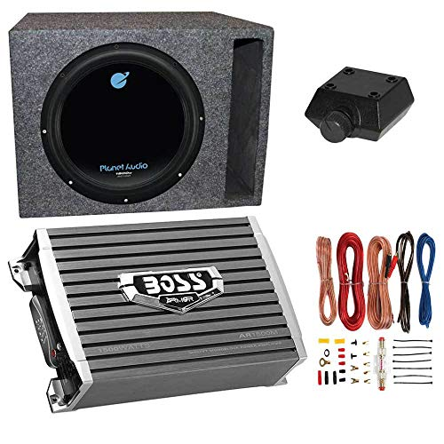 Planet Audio AC12D 12' 1800W 4 Ohm DVC Car Subwoofer Package with Boss...