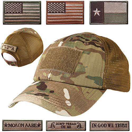 Lightbird Mesh Tactical Hat with 6 Patch,Operator OCP Flag Cap Hat...