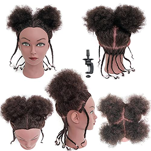 Afro Hair Mannequins Head with Human Hair Cosmetology Training Head Manican...