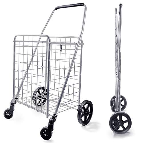 Wellmax WM99024S Grocery Utility Shopping Cart, Easily Collapsible and...