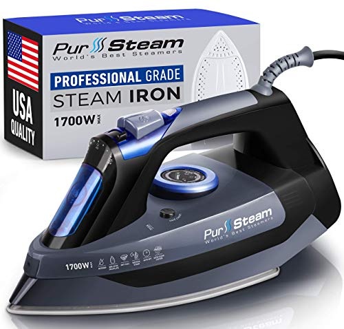 Professional Grade 1700W Steam Iron for Clothes with Rapid Even Heat...