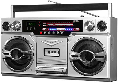 Victrola 1980s Retro Bluetooth Boombox with Cassette Player and AM/FM...
