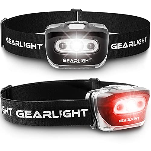 GearLight LED Head Lamp - Pack of 2 Outdoor Flashlight Headlamps w/...