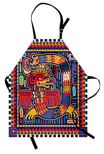 Lunarable Mexican Apron, Culture Pattern Colorful Art Abstract Snake in...