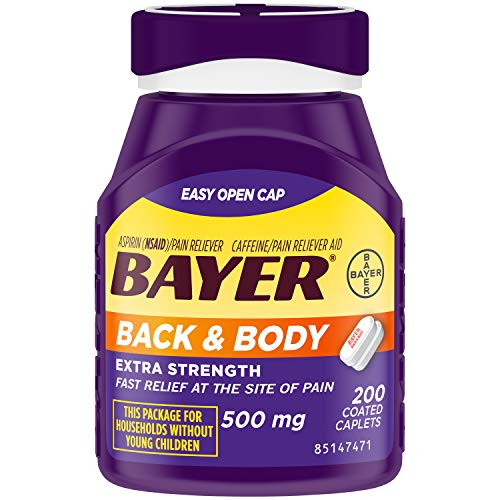 Bayer Back & Body Extra Strength Aspirin, 500mg Coated Tablets, Fast Relief...