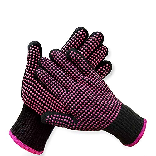2 Pcs Professional Heat Resistant Glove for Hair Styling Heat Blocking...