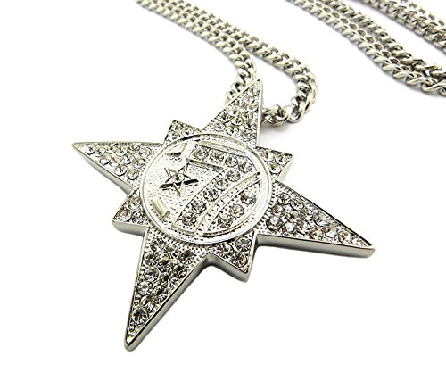 Shiny Jewelers USA Mens Gold 7 Star 5 Percenter ICED Out Hip HOP Pendant...