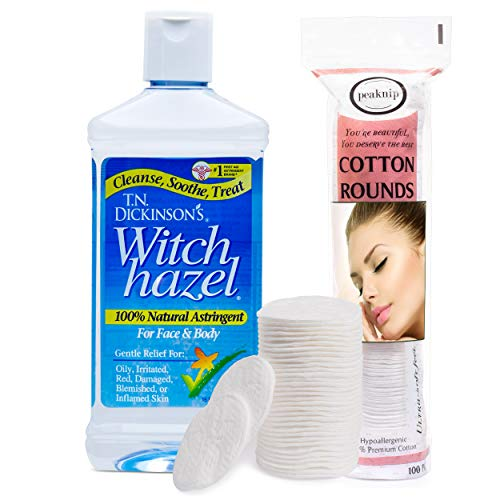 T.N. Dickinson's 16 oz. Witch Hazel 100% Natural Astringent with 100 Pcs....