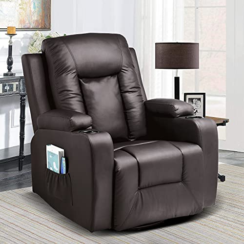 Comhoma Leather Recliner Chair Modern Rocker with Heated Massage Ergonomic...