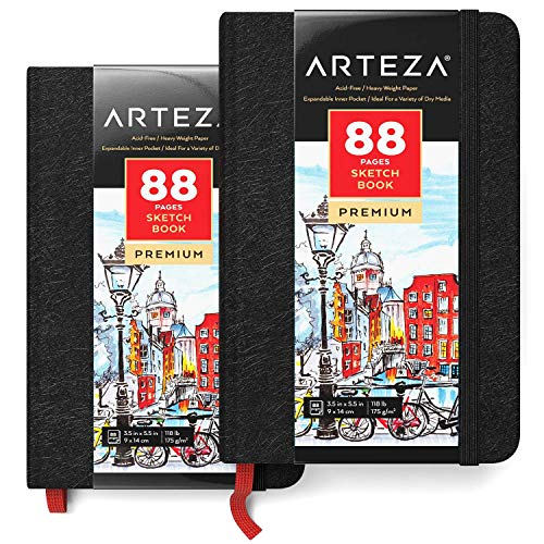 Arteza Mini Sketchbook, Pack of 2, 3.5 x 5.5 Inches, 88-Page Pocket...