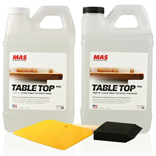 Crystal Clear Epoxy Resin One Gallon Kit   MAS Table Top Pro Epoxy Resin &...
