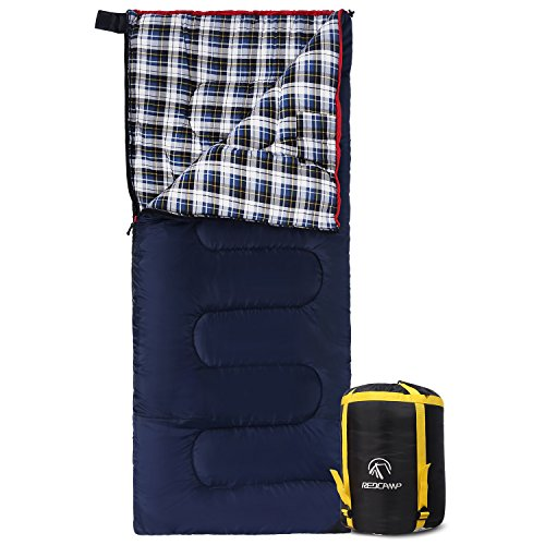 REDCAMP Cotton Flannel Sleeping Bag for Camping, 50F/10C 3-Season Warm and...