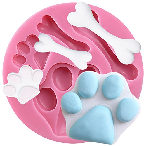 Funshowcase Assorted Dog Footprints and Bones Silicone Candy Mold for Cake...
