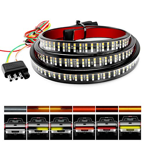 Nilight TR-04 Truck Tailgate Bar 60' Triple Row 504 LED Strip with Red...