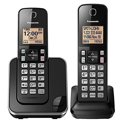 Panasonic Expandable Cordless Phone System with Amber Backlit Display – 2...