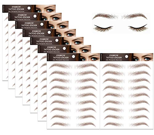 72 Pair Hair-like Authentic Eyebrows 4D Brown Natural Tattoo Eyebrow...