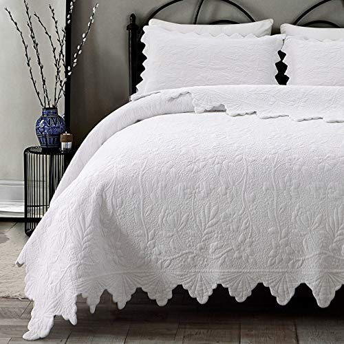 Brandream White Quilts Set Queen Size Bedspreads Farmhouse Bedding 100%...