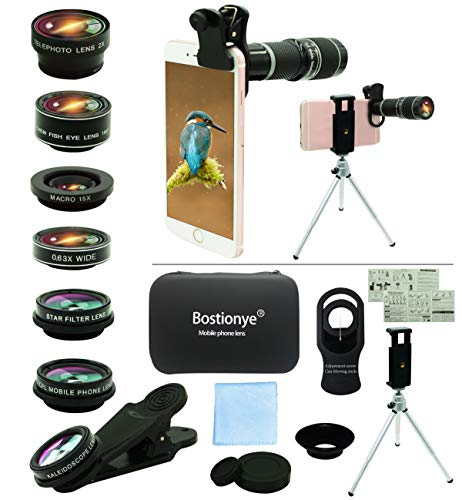 Cell Phone Camera Lens Kit,11 in 1 Universal 20x Telephoto Lens,0.63Wide...