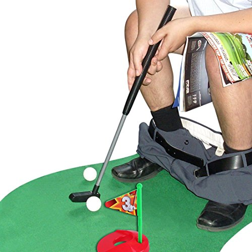 Toilet Golf Potty Time Putter Game - Funny White Elephant Gag Gifts for...