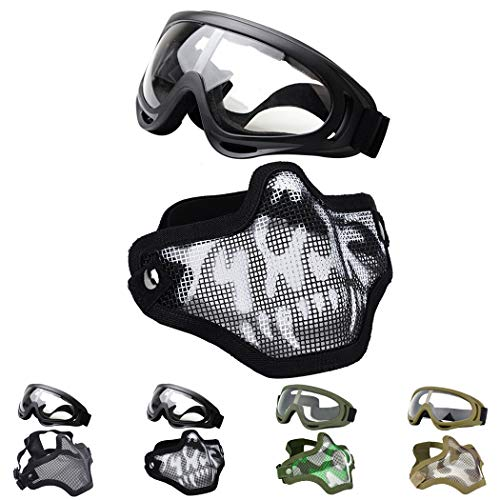 Outgeek Airsoft Half Face Mask Steel Mesh and Goggles Set for Halloween and...